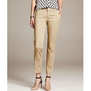 Banana Republic khaki Hampton sateen cropped pant